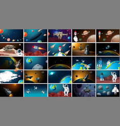 Large set outer space scenes vector