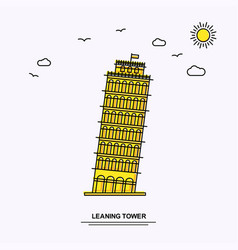 Leaning tower monument poster template world vector