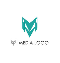 letter m media logo vector image