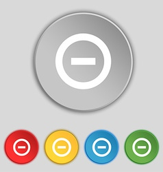 Minus Negative zoom stop icon sign Symbol on five vector