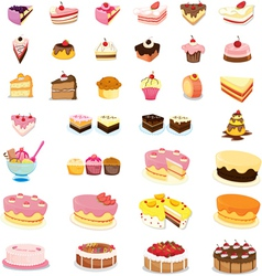 Mixed cakes and desserts vector