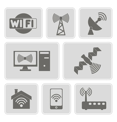 monochrome icons with wi-fi symbols vector image