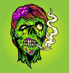 monster cigarette weed halloween vector image