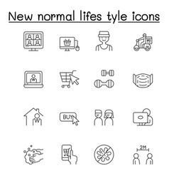new normal life style icons set in thin line style vector image