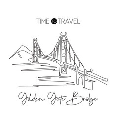 one continuous line drawing golden gate bridge vector image