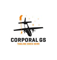 parachuting from plane logo vector image