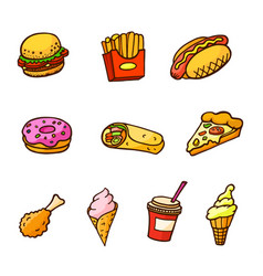 Pop art style set of fast food stickers vector