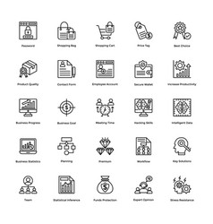 Project management line icons set 9 vector