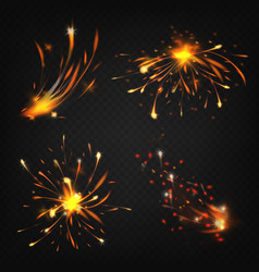 realistic fireworks sparks from welding vector image