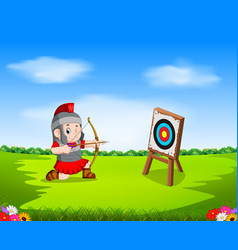 Roman soldier with bow and target vector