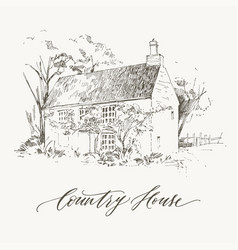Rural landscape with old farmhouse and garden vector