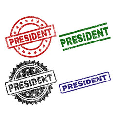 Scratched textured president stamp seals vector