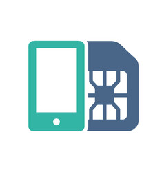 sim card with mobile phone flat icon mobile slot vector image