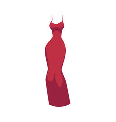 Slim fit evening gown beautiful long red dress vector