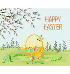 spring landscape forest easter wicker vector image
