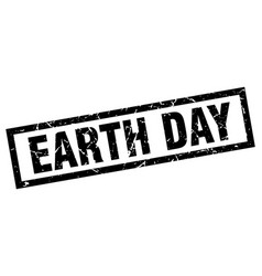 Square grunge black earth day stamp vector