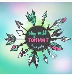 Stay wild tonight typographic background vector