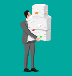 stressed businessman with pile office documents vector image