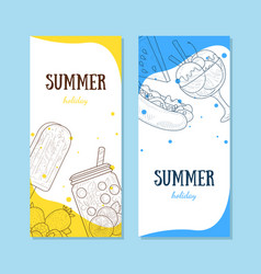 Summer holiday banners set with summertime food vector