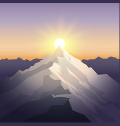 sunset in the mountains landscape with peak vector image