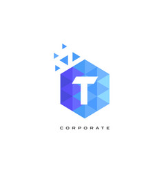 t blue hexagonal letter logo design with mosaic vector image