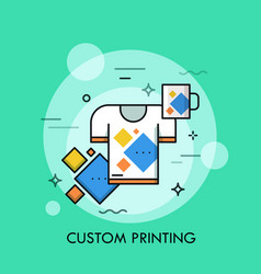 T-shirt and cup with same print branded and vector