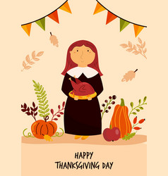 thanksgiving day greeting card with cute pilgrim vector image