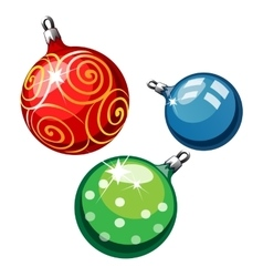 Three balls on Christmas tree red blue and green vector