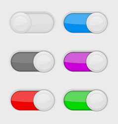 toggle switch buttons colored on and off web vector image