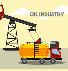 truck gas tank pump oil industry vector image