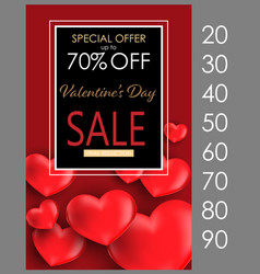 valentines day sale flyer template vector image