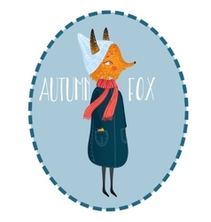 Very cute autumn fox cute little vector