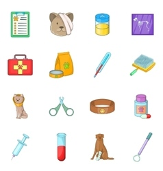 Veterinary clinic icons set cartoon style vector image