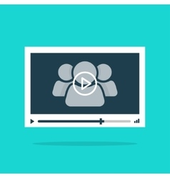 Video player interface abstract 3 persons play vector