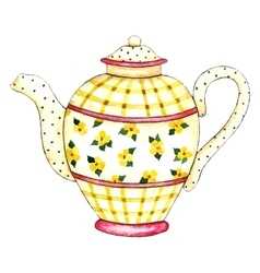 Watercolor teapot vector image