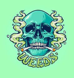 weed skull smoke vector image