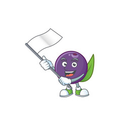With flag acai berries character for fresh fruit vector