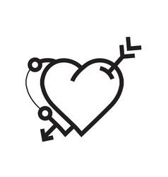 Arrow on twins heart icon vector
