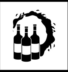 bottles with bubble of wine icon vector image
