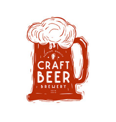 craft beer mug and typographic emblem vector image vector image