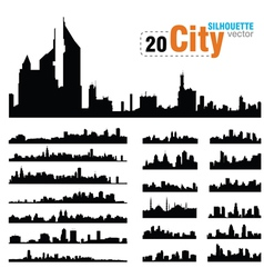 set of city skylines vector image