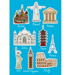 Set of travel landmarks icons vector image
