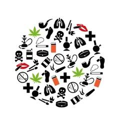 smoking icons in circle vector image vector image