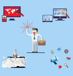 businessman and set of office vector image vector image