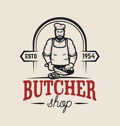 butcher shop design element for logo label emblem vector image