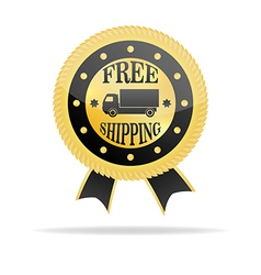 Free Shipping Golden Badge vector image vector image