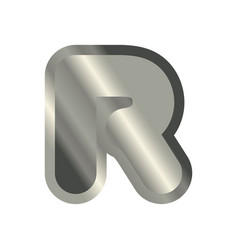 letter r steel font metal alphabet sign iron abc vector image vector image