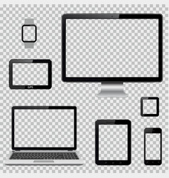 set of realistic computer monitor laptop tablet vector image