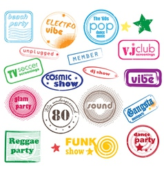 club music stamps vector image
