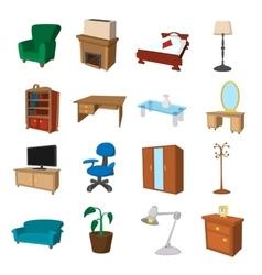 Furniture cartoon icons set vector image